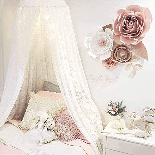 Princess Lace Crib Netting Bed Canopy with Lights for Girls Bed, Daybed Netting Curtains Hanging House Castle for Kids Play Room Bedroom Decor Reading Nook Canopy (with Gifts)