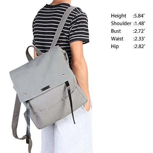 Hynes Eagle Urban Traveler Canvas Backpack Fits 15.6 inch Laptop Light Gray by Hynes Eagle (Image #6)