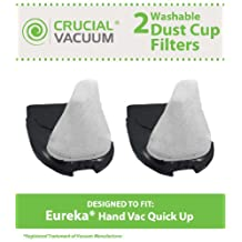 2 Eureka Quick Up Washable & Reusable Dust Cup Filters Fits Eureka Quick Up Vacuum Cleaner Models: 61, 70, 71, 61A, 70A, 70AX, 71A, 71AV, 71B, AG61A, UK61A, Z61A, Compare to Part # 39657, DCF11, Designed & Engineered By Crucial Vacuum