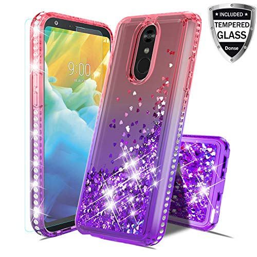 LG Stylo 4,LG Stylo 4 Plus,LG Stylus 4 Case W/Tempered Glass Screen Protector,Glitter Liquid Quicksand Floating Shiny Sparkle Flowing Bling Diamond Luxury Clear Cute for Girls Women - Diamonds Watch Pink Floating