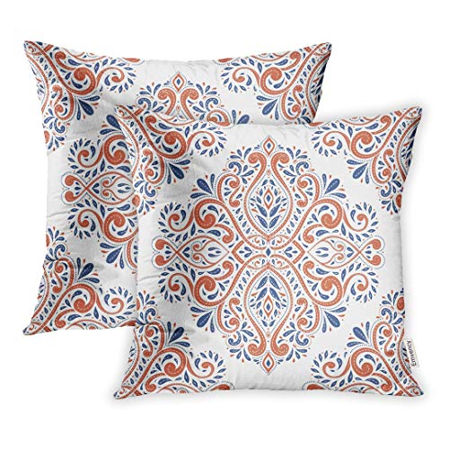 Emvency Set of 2 Throw Pillow Covers Decorative Cases Blue and Orange on Paisley Traditional Turkish Indian Motifs Great 18x18 Inch Cover Cushion Pillowcase Square Case - Pillow Paisley Blue