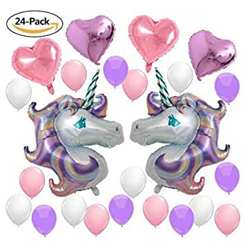Happy Birthday Purple Pink Rainbow Magical Unicorn Theme Table Decorations Banner Balloon Set 24 Piece