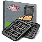 Kitchen Maestro Griddler Waffle Plates for Cuisinart Griddler – Nonstick, Dishwasher Safe, Lock-In Place, Black, made for GR-4N and GRID-8N Series