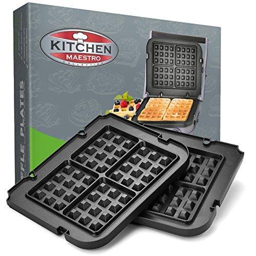dler Waffle Plates for Cuisinart Griddler – Nonstick, Dishwasher Safe, Lock-In Place, Black, made for GR-4N and GRID-8N Series ()