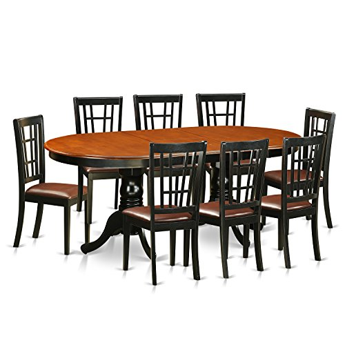 East West Furniture PLNI9-BCH-LC 9 Piece Table with 8 Solid Wood Chairs Set
