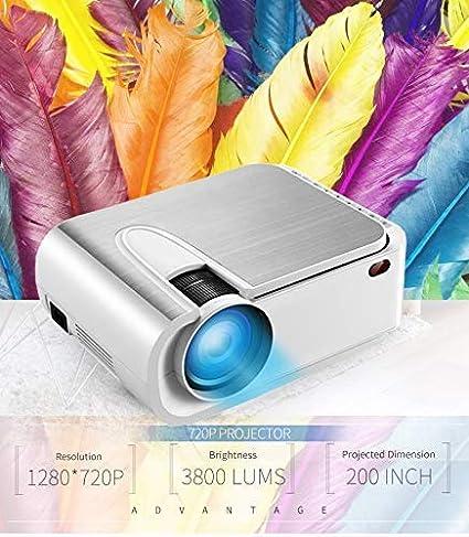 Proyector, HD 3800 Lux proyector de vídeo con Pantalla de 200 ...