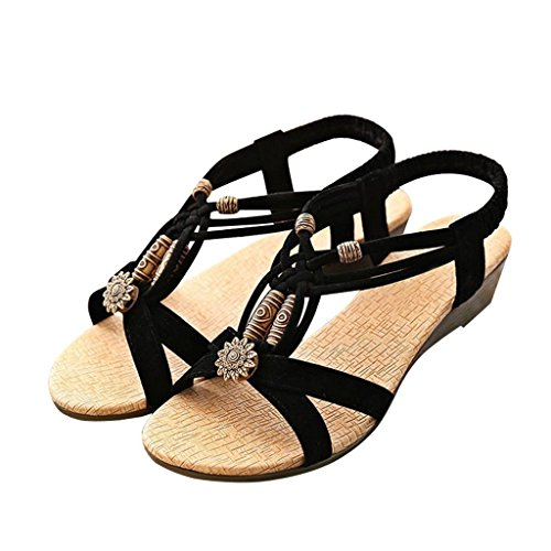 Optimal Womens Ladies Summer Thong Sandals low heel Toe Post Flip Flops Casual Boho Shoes Black aKO7CMHzZP