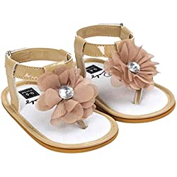 Voberry Baby Infant Girls Flower Pearl Princess Sandals Soft Sole First Walker Crib Shoes (0~6 Month, Khaki)