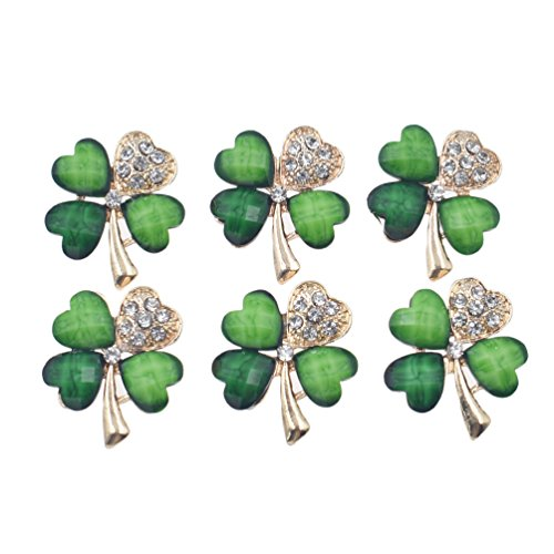 Price comparison product image Qlychee Four Leaf Clover Brooch Glitter Rhinestone Breastpin St Patrick's Day Lapel Pins