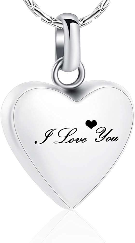 constantlife Cremation Jewelry Memorial Urn Necklace for Ashes Love Heart Pendant Stainless Steel Ashes Holder Personalized Customization Engravable Keepsake