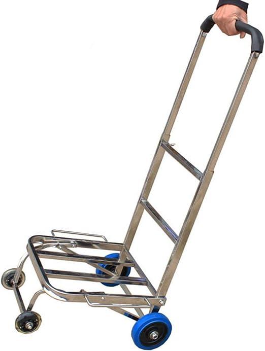 QIANGDA-Carros Carretilla Plegable Acero Inoxidable Portátil Subir Escaleras Plegable Convertible Capacidad De Carga De 100kg, 4/8 Ruedas (Color : 4 Wheels): Amazon.es: Jardín