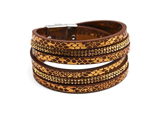 BC1044F - Bracelet Double Tour Imprimé Python Brillant et Rangées de Strass Marron - Mode Fantaisie
