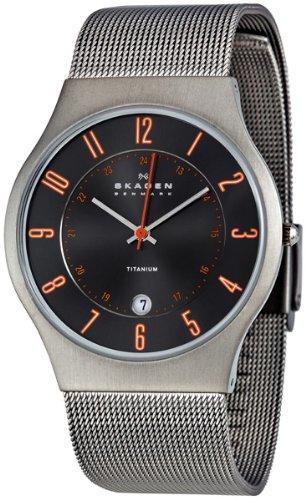 Skagen Men's 233XLTTMO Titanium Grey Dial Watch, Watch Central