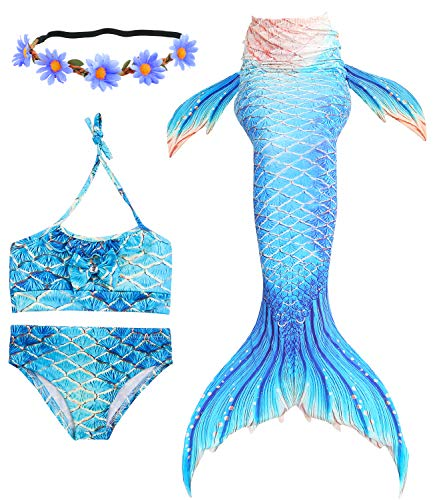 Newland Girl's 3 Pcs Mermaid Tail Swimwear Swimsuit Bikini Bathing Suit Style,Style #1,120CM(4-5Y)-Size L
