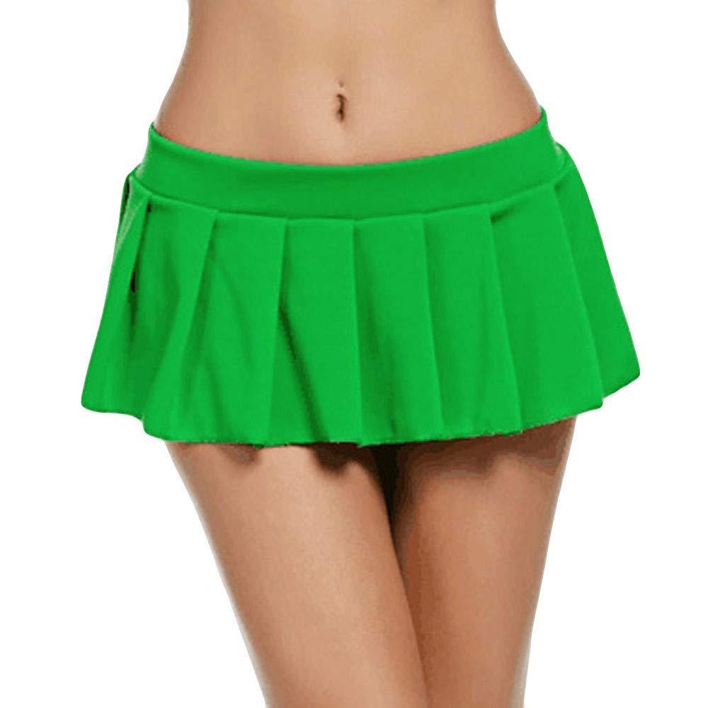 Fitfuvan Women Skirt Fashion Club Low-Waisted Sexy Mini Skirt (Green,Asian XL = US L)