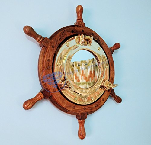 Deluxe Hand Crafted Nautical Elite Wooden Ship Wheel With Decorative Polished Brass Porthole Mirror|Christmas Gifts|Nagina International (24 Inches) by Nagina International