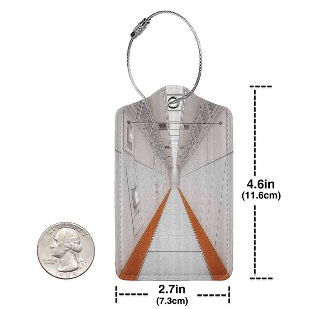 Small luggage tag Outer Space Decor Apocalypse Hallway Galactic Journey to Stars on Milky Way Landscape Quickly find the suitcase White Orange W2.7 x L4.6