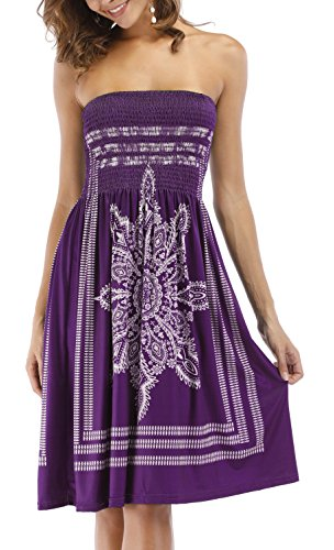 ups Casual Floral Bohemian Dress Purple Women's Cover Mini Beach Dress Zyyfly Strapless g7qO6wnnz