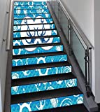 Stair Stickers Wall Stickers,13 PCS Self-Adhesive,Nautical Decor,Sea Theme Doodle Nostalgia Sailboat Seaman Adventurous Travels Lifestyle Decorative,Stair Riser Decal for Living Room, Hall, Kids Room