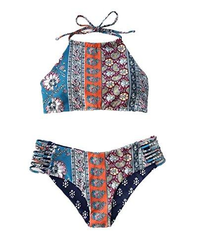 Creabygirls Womens Cute Floral Halter Top High Neck Bikini Set Swimsuit Blue (S US0-2, Blue1)