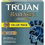 TROJAN BareSkin Lubricated Latex Condoms, 24 Count