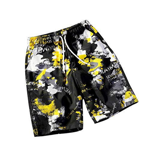 Men's Summer Beach Shorts, Fashion Casual Loose Plus Size Breathable Drawstring Thin Printing Baggy Pants
