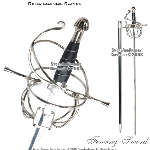 Ace Martial Arts Supply Renaissance Rapier Fencing Sword with Swept Hilt -