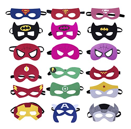 Superheroes Party Masks for Children 18 Pieces Superhero Masks Perfect for Children Aged 3+]()