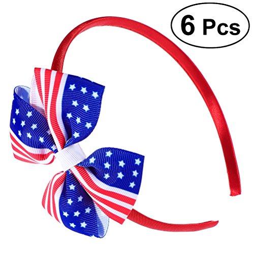 (Lurrose 6pcs American Flag Headband USA 4th of July Hair Accessories Hair Bow Headband Headwear Halloween Hair Band for Girls)
