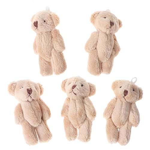 Hoiert Christmas 5PCS Kawaii Small Bears Plush Soft Toys Pearl Velvet Dolls Gifts Mini Teddy Bear for Kids (Light Brown)