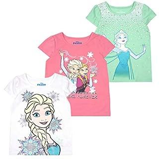 Disney Princess T-Shirts for Girls – 3 Pack Short Sleeve Graphic Tees, Aqua, 6