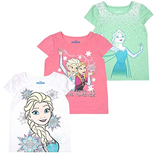 Disney Princess T-Shirts for Girls - 3 Pack Short Sleeve Graphic Tees 3T Grey -