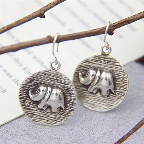(Handmade Vintage S925 Silver 25 mm Elephant Carving Drop Earrings With Gift Box Packing,Sterling Silver Texture Drop Earrings,Gift For Her )