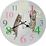 MEISTAR Cute Cat Wall Clock Slient Wall Clock Children Kids Wall Clock Will Be Nice Gift and Home Office Wall Decor(16 Inches)