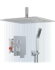SR SUN RISE 12 Inches Ceiling Mounted Shower System CA-C1203 Rain Mixer Shower Faucet Set Ceiling Install Rainfall Shower Head Faucet Polished Chrome. Contain Shower Valve Body and Trim Kit