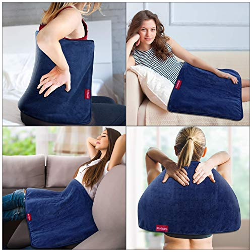 Large Heating Pad, Comfytemp 17 x 33\'\' XXXL Electric Heating Pad for Back Pain Relief, Extra Large Heat Pad - 6 Heat Levels, 5 Timers with Countdown & Backlight for Shoulders and Cramps, Washable