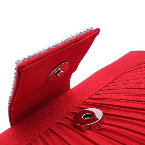 Mujeres Plegado Tachonado Rhinestone Bolsos De Tarde Bolso De Embrague Multicolor Red2