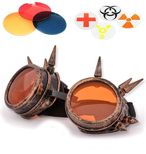 argenté couleur victorien avec steampunk style de de et Copper solaires TM verres Studs balck cuivre rose pics cyber 4sold orange livrées supplémentaires Lunettes verres couleur moyen avec vCwczaxq