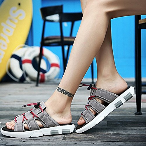 Grigio Grigio Traspiranti Dimensione Pantofole Antiscivolo Uomo 41 pantofole Da Casual da 3 Wagsiyi EU Pantofole 1 spiaggia Shoes Colore Scarpe Leather Outdoor SZFz1z