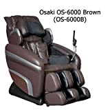 Osaki OS-6000B Deluxe ZERO GRAVITY Massage Chair, Brown/Black, Synthetic Leather, Designed with a set of S-track movable intelligent massage robot , special focus on the neck, shoulder and lumbar massage according to body curve, Automatically detect the whole body curve as well as make micro adjustments, Thai style body stretching massage function, MP3 player with music sync, LCD displayer with wireless mini controller, Designed with six unique auto-programs: Healthcare, Relax, Therapy, Smart, Circulation and Demo, Automatic massage for the upper body (shoulder, neck, back and lumbar), the low body (buttock, thigh, calves and feet)