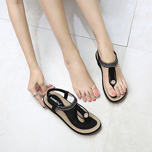Meeshine Womens Summer Beach Flat Sandals Rhinestone Shiny Beads Slip On Flip Flops Thong Shoes(11 B(M) US,Black 04) by Meeshine (Image #3)