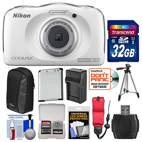 Nikon Coolpix S33 Shock & Waterproof Digital Camera (White) with 32GB Card + Battery + Charger + Case