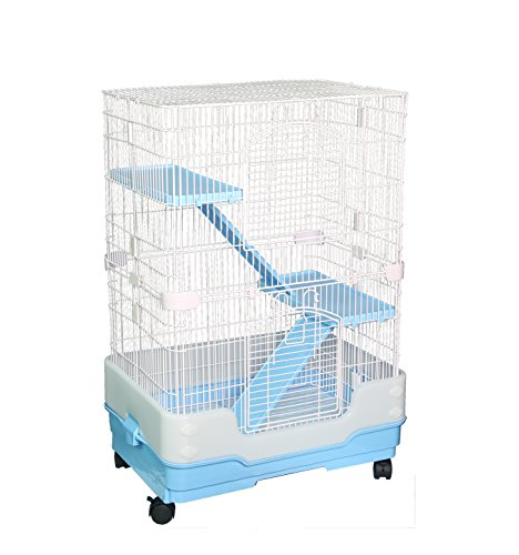 Homey Pet 3 Tiers Chinchilla Hamster Rat Ferret Cage with Sleeping Platform, Pull Out Tray, Urine Guard and Lockable Casters, Blue, L26 x W17 x H38 (Colored Hamster Bottle)