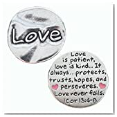 "Pewter Scripture Pocket Token: Love I Corinthians 13:4-8 - 1 1/8"" X 1 1/8"""
