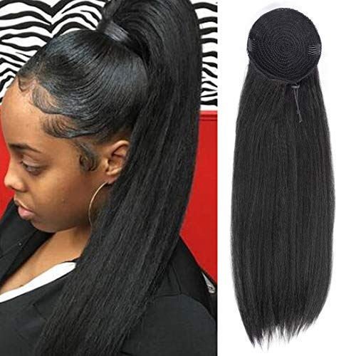 AISI BEAUTY Yaki Straight Ponytail Drawstring Extensions Hair Pieces Kinky Straight Long Black Ponytail for Women Clip in on Ponytail Hair Extensions(24 Inches) - Braids Pony Yaki