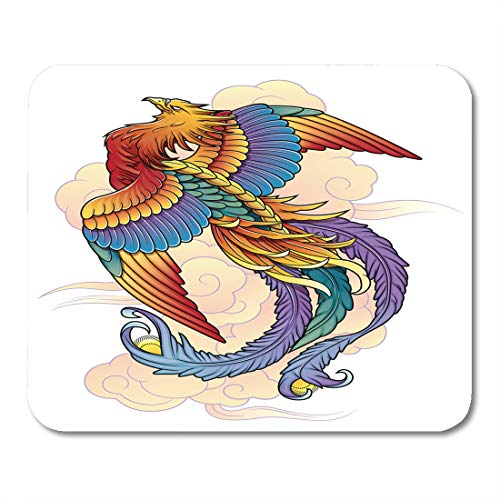 Semtomn Mouse Pad Orange Fire Phoenix Bird Red Rebirth Tattoo Wing Abstract Mousepad 9.8