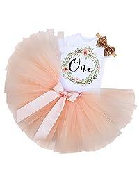 189de43fd03 MIOIM 3pcs Baby Girls 1st Birthday Tutu Onesie Skirt Dress Headband Outfit