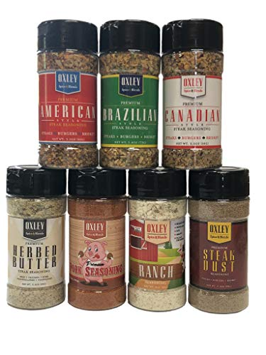 (Variety Seasoning Set, 7 Pack, Oxley Spice & Blends American, Brazilian, Canadian, Pasture Fed Herbed Butter, Pork, Ranch and Steak Dust, Grilling and 4th of July BBQ (Assorted Sampler))