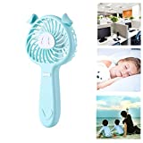TechCode Mini Fan Handheld, Portable Little Pig Fan Mini USB Charging Noiseless Handhold Fan Summer Battery Operated Personal Fan With 3 Speed Adjustable Rechargeable USB Electric Fans (Blue)