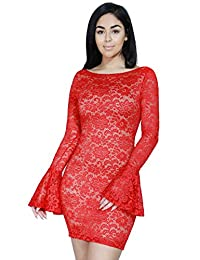 Fandsway Women's Lace Semi Turtle Neck Bodycon Long Sleeve Dress